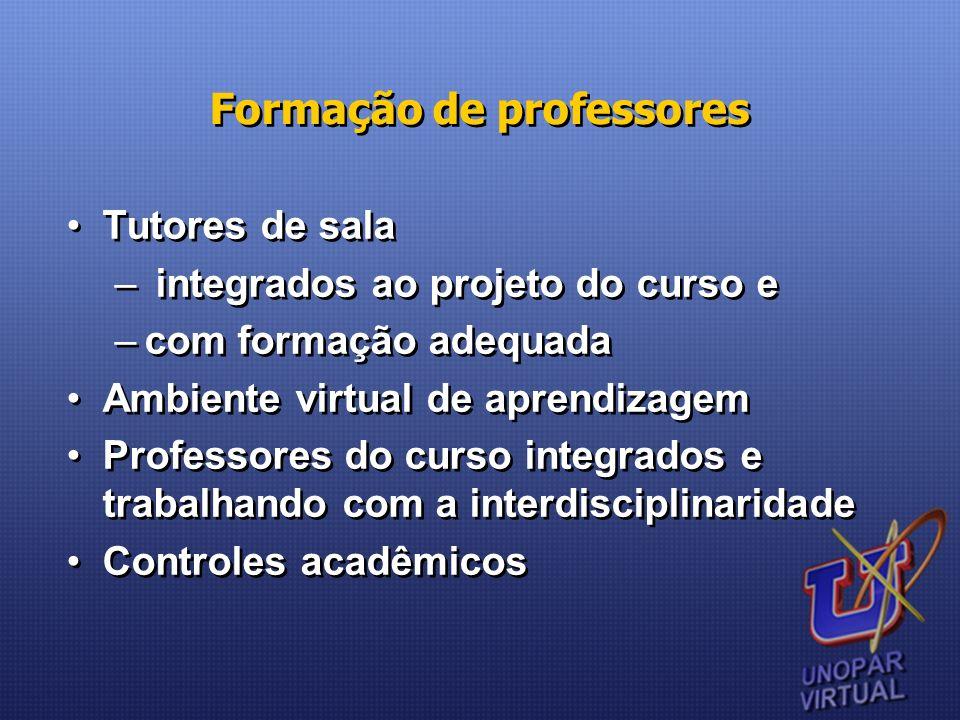 Formação de professores Tutores de sala – integrados ao projeto do curso e –com formação adequada Ambiente virtual de aprendizagem Professores do curs