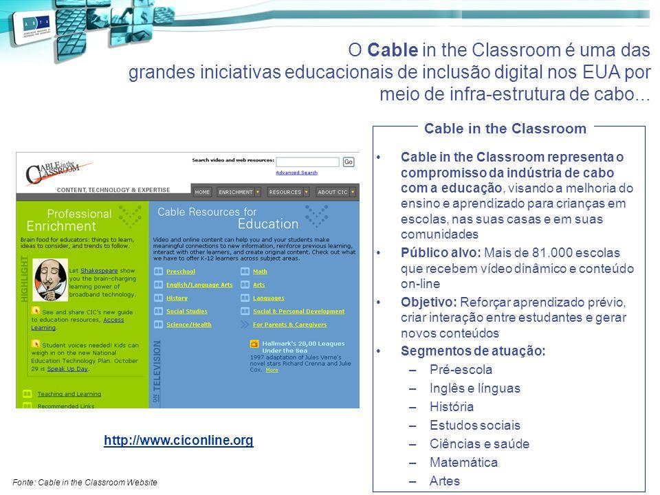 Cable in the Classroom representa o compromisso da indústria de cabo com a educação, visando a melhoria do ensino e aprendizado para crianças em escol