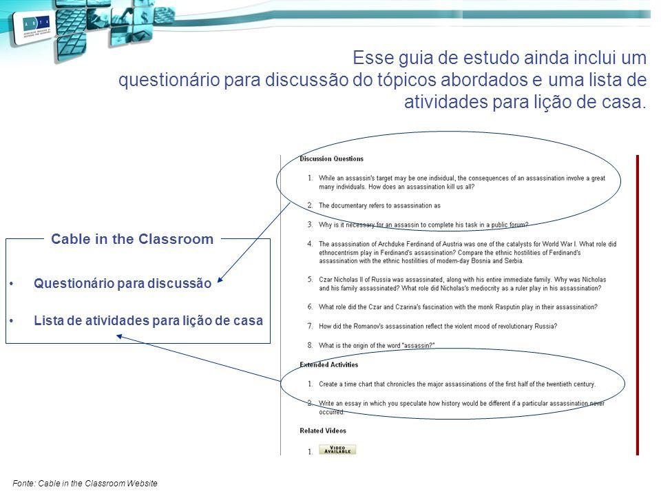 Esse guia de estudo ainda inclui um questionário para discussão do tópicos abordados e uma lista de atividades para lição de casa. Questionário para d