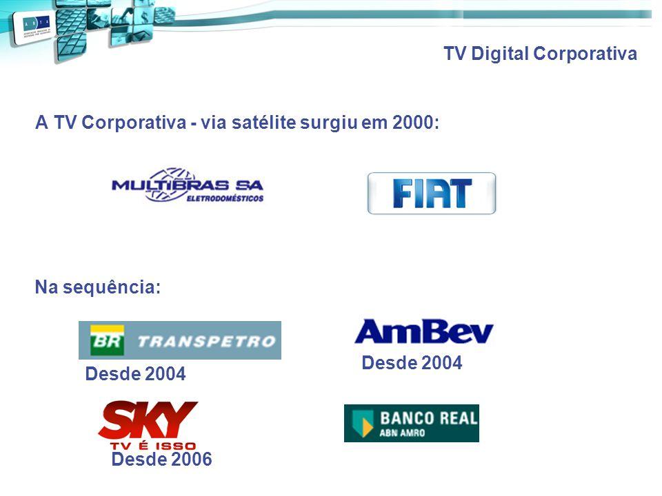 TV Digital Corporativa A TV Corporativa - via satélite surgiu em 2000: Desde 2004 Desde 2006 Na sequência: