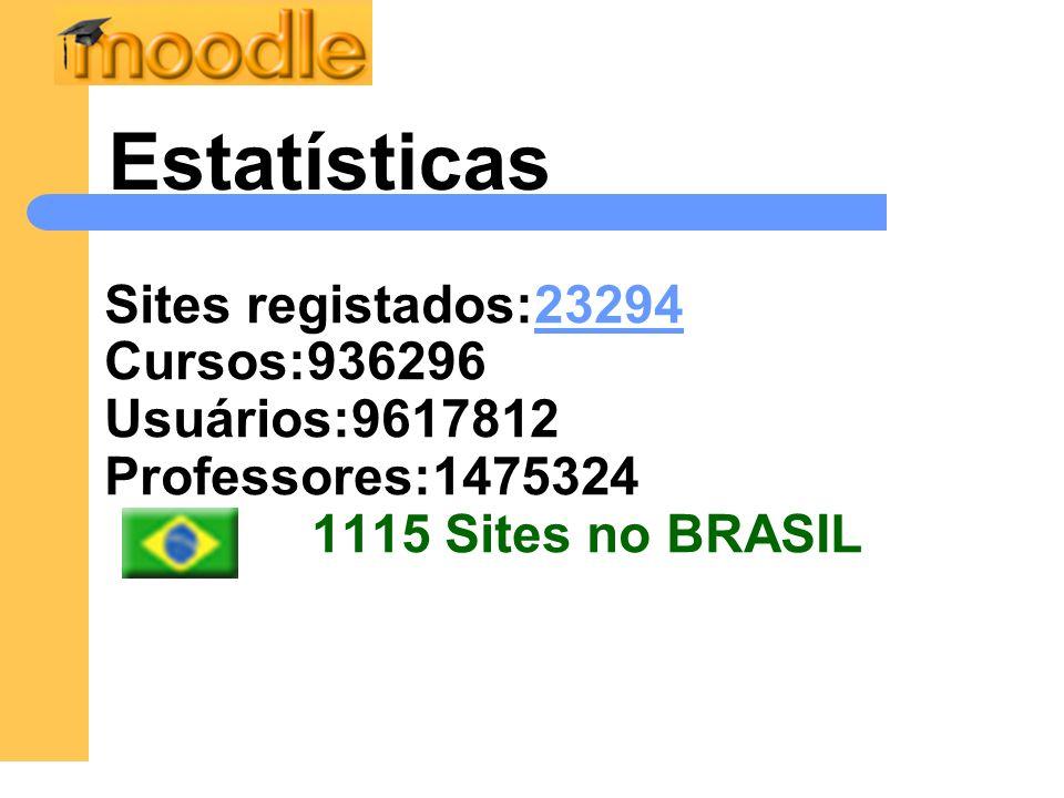 Sites registados:23294 Cursos:936296 Usuários:9617812 Professores:1475324 1115 Sites no BRASIL23294 Estatísticas