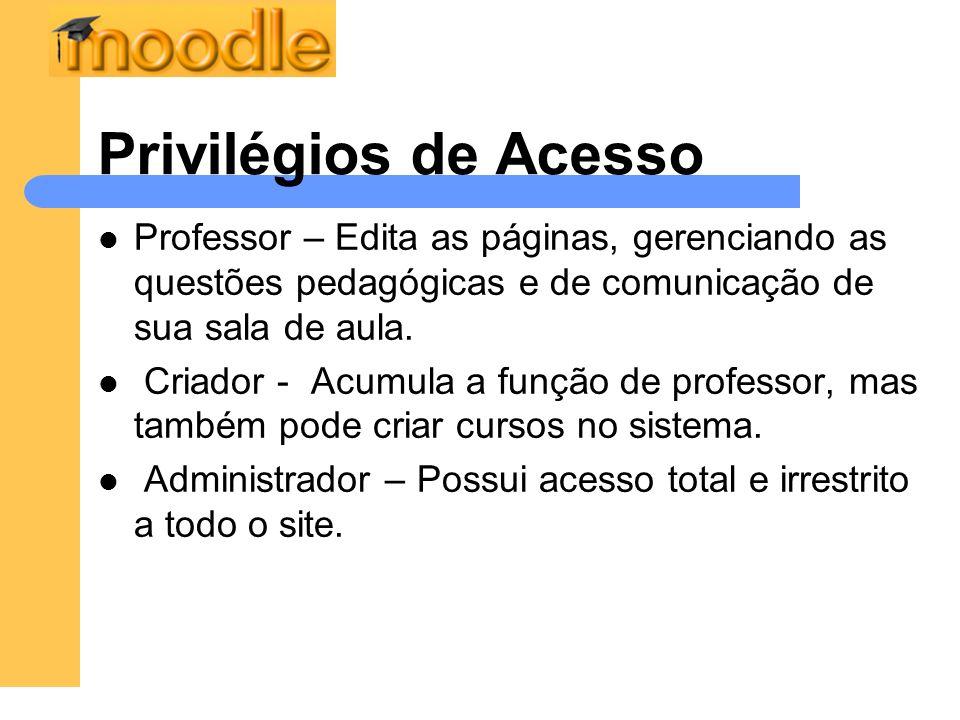 Privilégios de Acesso Professor – Edita as páginas, gerenciando as questões pedagógicas e de comunicação de sua sala de aula. Criador - Acumula a funç