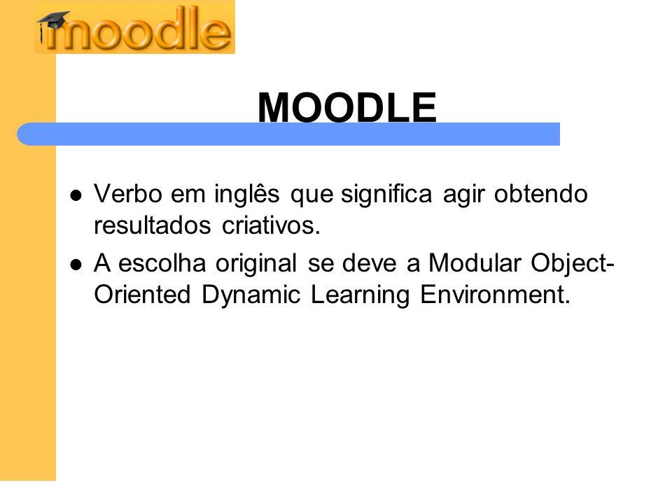 MOODLE Verbo em inglês que significa agir obtendo resultados criativos. A escolha original se deve a Modular Object- Oriented Dynamic Learning Environ