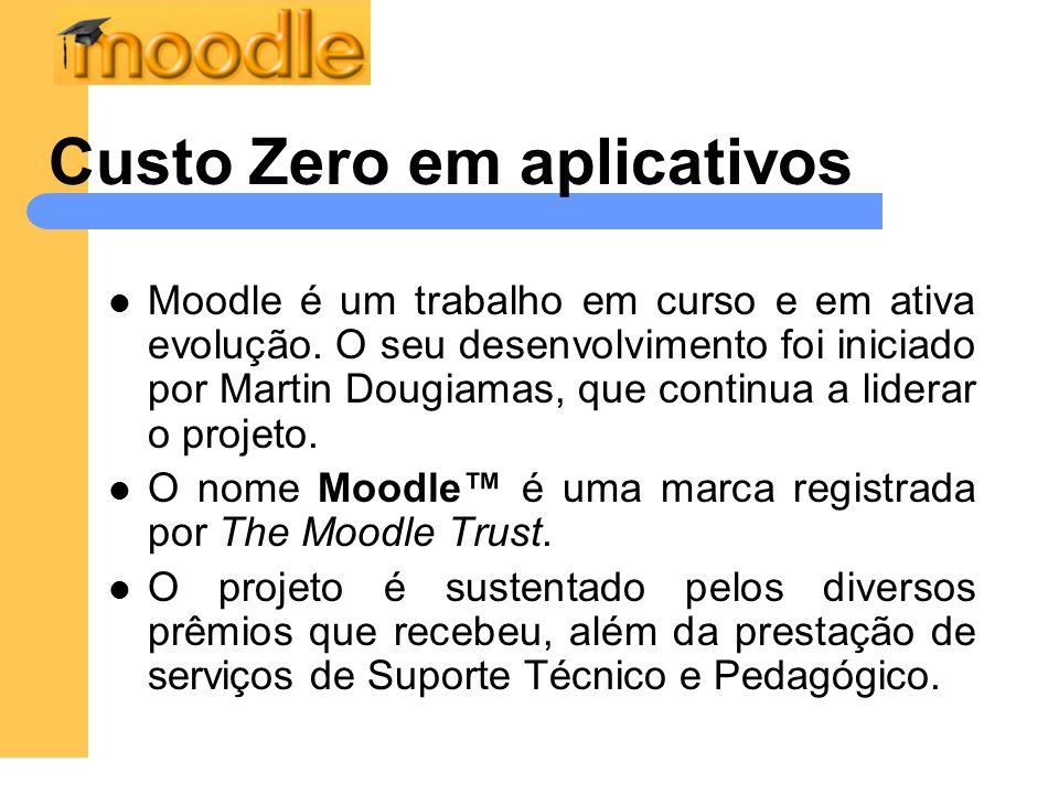 Custo Zero em aplicativos Moodle é um trabalho em curso e em ativa evolução. O seu desenvolvimento foi iniciado por Martin Dougiamas, que continua a l