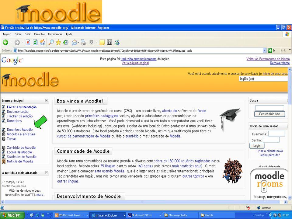 Funcionalidades Além da possibilidade de disponibilizar recursos on-line, o Moodle permite criar: – Salas de Chat.