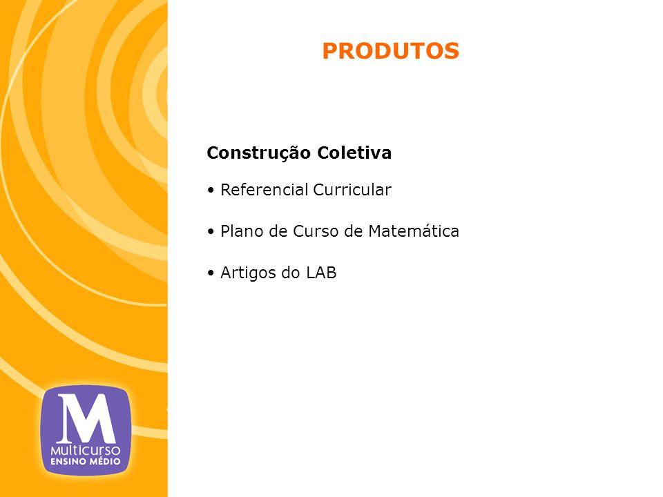PRODUTOS Construção Coletiva Referencial Curricular Plano de Curso de Matemática Artigos do LAB