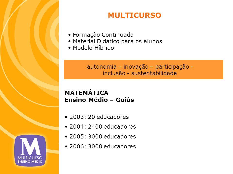 MULTICURSO Formação Continuada Material Didático para os alunos Modelo Híbrido MATEMÁTICA Ensino Médio – Goiás 2003: 20 educadores 2004: 2400 educador
