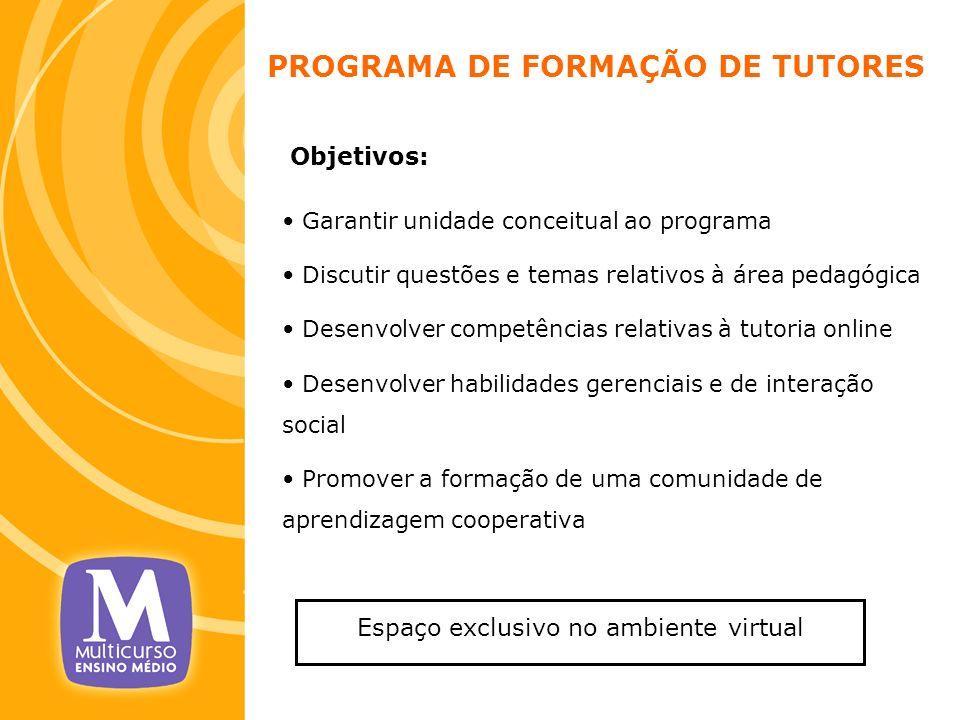 PROGRAMA DE FORMAÇÃO DE TUTORES Objetivos: Garantir unidade conceitual ao programa Discutir questões e temas relativos à área pedagógica Desenvolver c