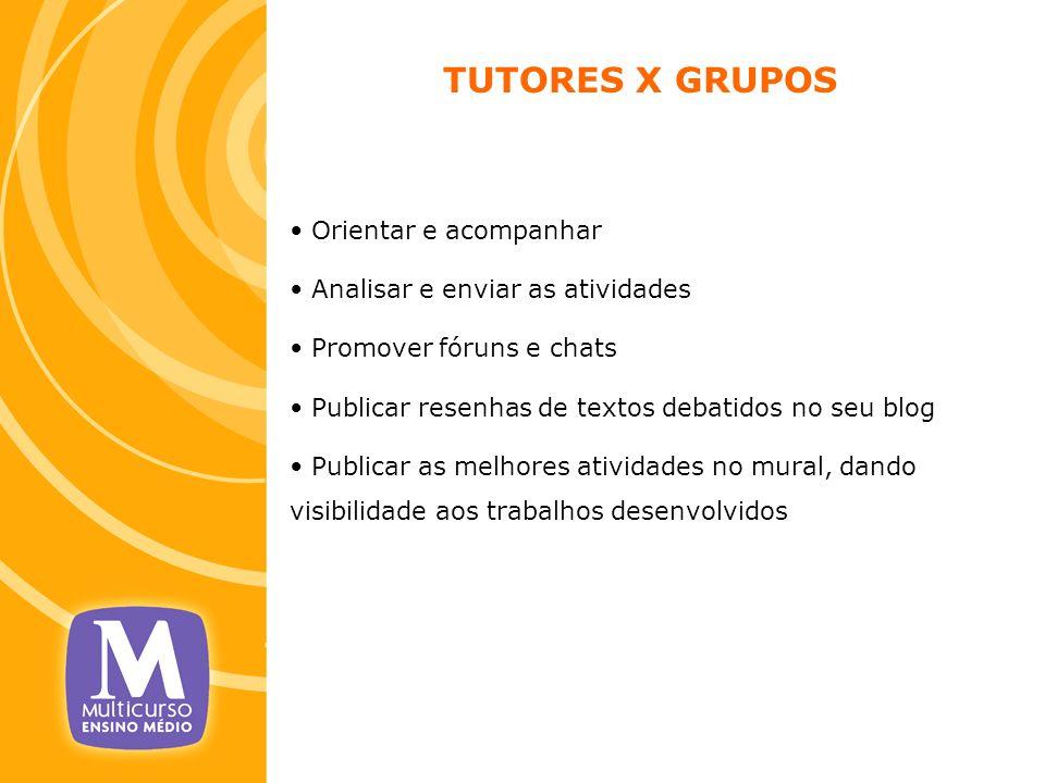 TUTORES X GRUPOS Orientar e acompanhar Analisar e enviar as atividades Promover fóruns e chats Publicar resenhas de textos debatidos no seu blog Publi