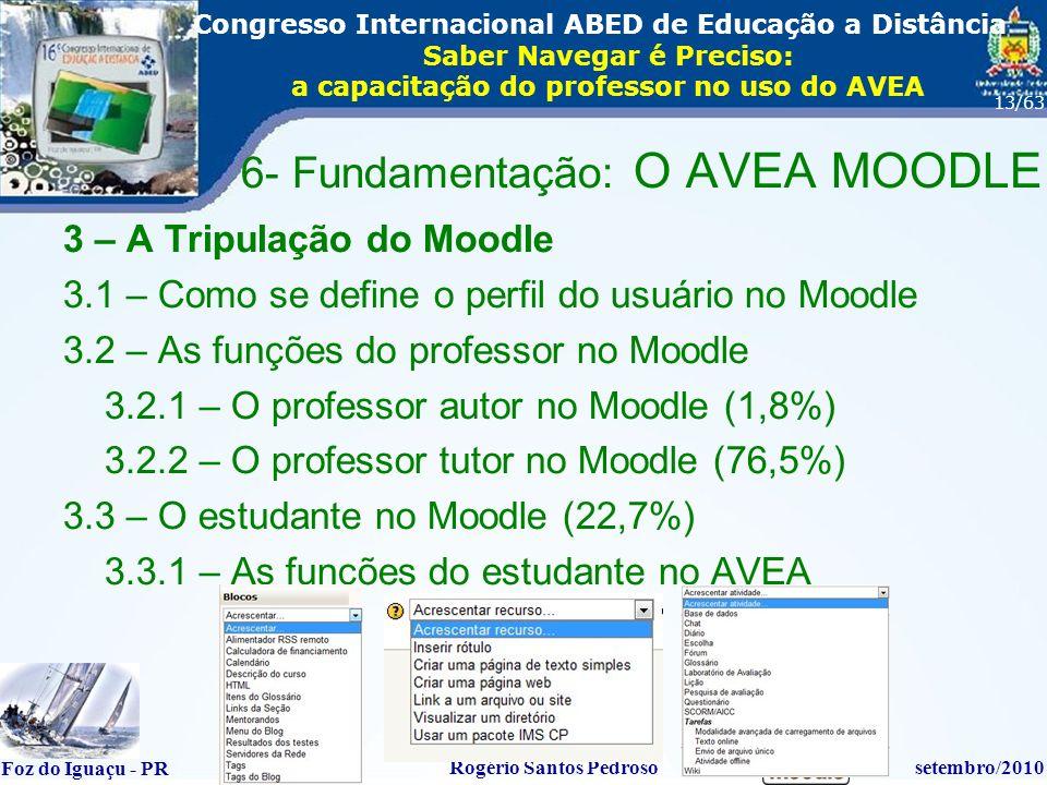 16º Congresso Internacional ABED em Educação a Distãncia Foz do Iguaçu - PR Rogério Santos Pedrososetembro/2010 Congresso Internacional ABED de Educação a Distância Saber Navegar é Preciso: a capacitação do professor no uso do AVEA 13/63 3 – A Tripulação do Moodle 3.1 – Como se define o perfil do usuário no Moodle 3.2 – As funções do professor no Moodle 3.2.1 – O professor autor no Moodle (1,8%) 3.2.2 – O professor tutor no Moodle (76,5%) 3.3 – O estudante no Moodle (22,7%) 3.3.1 – As funções do estudante no AVEA 6- Fundamentação: O AVEA MOODLE
