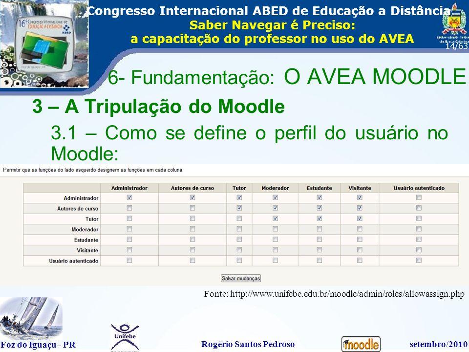 16º Congresso Internacional ABED em Educação a Distãncia Foz do Iguaçu - PR Rogério Santos Pedrososetembro/2010 Congresso Internacional ABED de Educação a Distância Saber Navegar é Preciso: a capacitação do professor no uso do AVEA 14/63 3 – A Tripulação do Moodle 3.1 – Como se define o perfil do usuário no Moodle: 6- Fundamentação: O AVEA MOODLE Fonte: http://www.unifebe.edu.br/moodle/admin/roles/allowassign.php