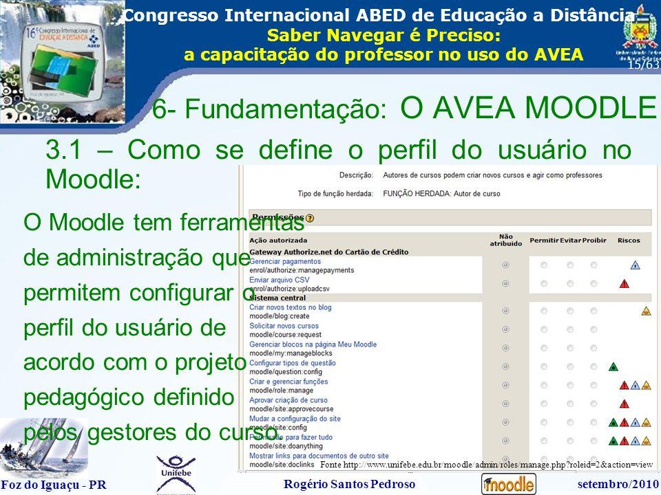 16º Congresso Internacional ABED em Educação a Distãncia Foz do Iguaçu - PR Rogério Santos Pedrososetembro/2010 Congresso Internacional ABED de Educação a Distância Saber Navegar é Preciso: a capacitação do professor no uso do AVEA 15/63 3.1 – Como se define o perfil do usuário no Moodle: 6- Fundamentação: O AVEA MOODLE Fonte http://www.unifebe.edu.br/moodle/admin/roles/manage.php roleid=2&action=view O Moodle tem ferramentas de administração que permitem configurar o perfil do usuário de acordo com o projeto pedagógico definido pelos gestores do curso.