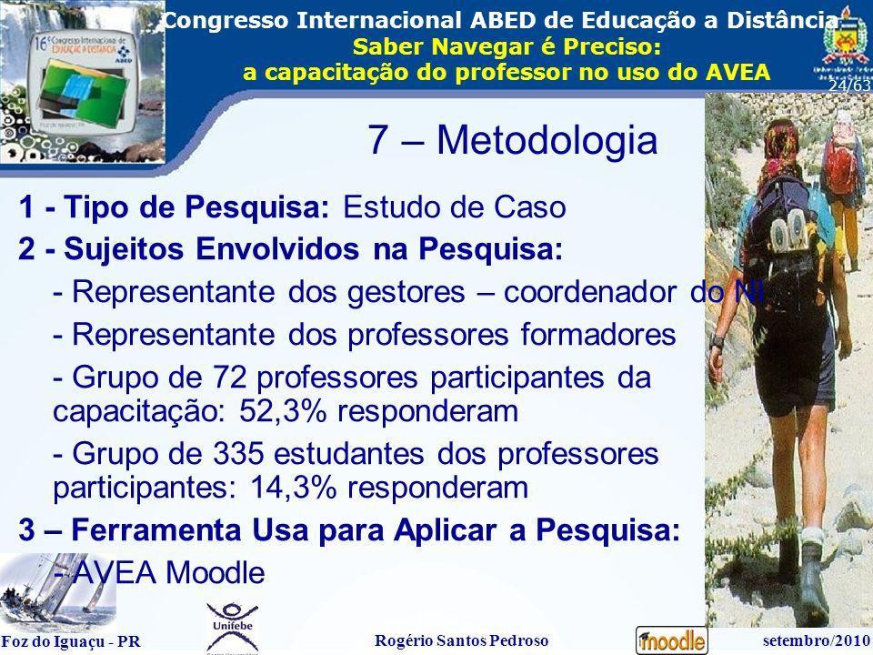 16º Congresso Internacional ABED em Educação a Distãncia Foz do Iguaçu - PR Rogério Santos Pedrososetembro/2010 Congresso Internacional ABED de Educação a Distância Saber Navegar é Preciso: a capacitação do professor no uso do AVEA 24/63 7 – Metodologia 1 - Tipo de Pesquisa: Estudo de Caso 2 - Sujeitos Envolvidos na Pesquisa: - Representante dos gestores – coordenador do NI - Representante dos professores formadores - Grupo de 72 professores participantes da capacitação: 52,3% responderam - Grupo de 335 estudantes dos professores participantes: 14,3% responderam 3 – Ferramenta Usa para Aplicar a Pesquisa: - AVEA Moodle