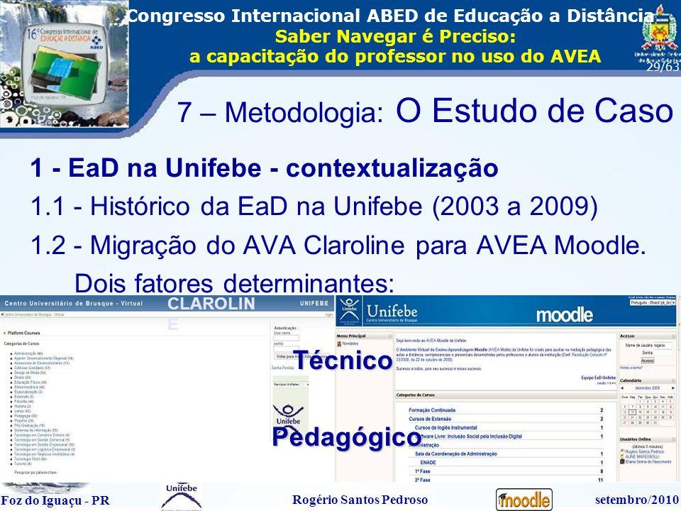16º Congresso Internacional ABED em Educação a Distãncia Foz do Iguaçu - PR Rogério Santos Pedrososetembro/2010 Congresso Internacional ABED de Educação a Distância Saber Navegar é Preciso: a capacitação do professor no uso do AVEA 29/63 1 - EaD na Unifebe - contextualização 1.1 - Histórico da EaD na Unifebe (2003 a 2009) 1.2 - Migração do AVA Claroline para AVEA Moodle.