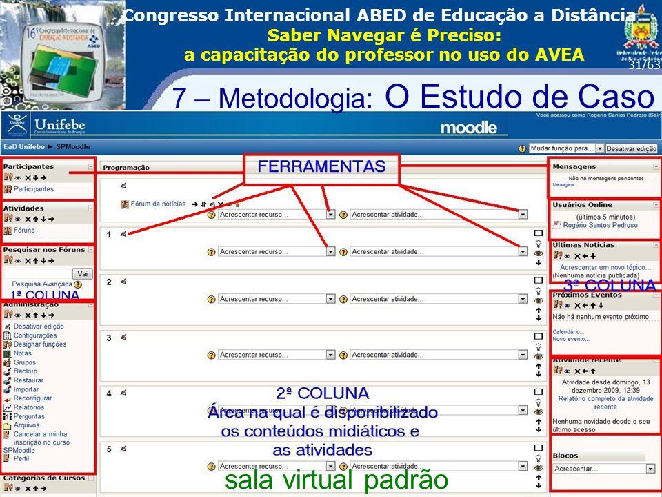 16º Congresso Internacional ABED em Educação a Distãncia Foz do Iguaçu - PR Rogério Santos Pedrososetembro/2010 Congresso Internacional ABED de Educação a Distância Saber Navegar é Preciso: a capacitação do professor no uso do AVEA 31/63 sala virtual padrão 7 – Metodologia: O Estudo de Caso