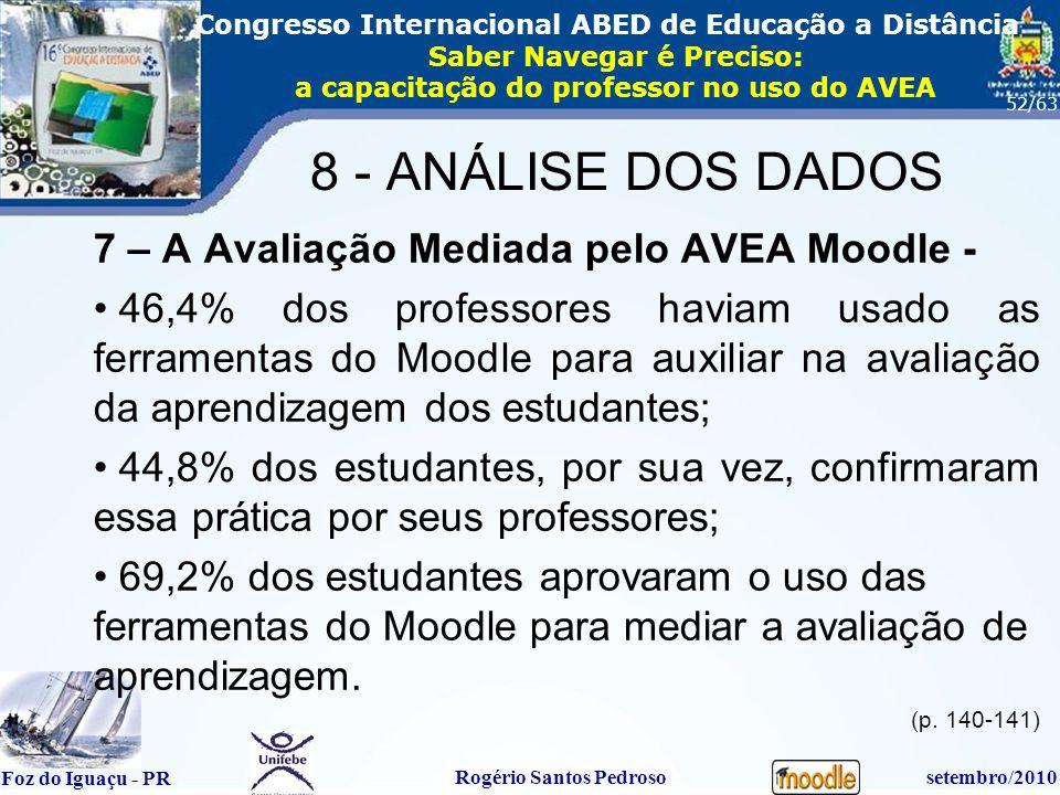 16º Congresso Internacional ABED em Educação a Distãncia Foz do Iguaçu - PR Rogério Santos Pedrososetembro/2010 Congresso Internacional ABED de Educação a Distância Saber Navegar é Preciso: a capacitação do professor no uso do AVEA 52/63 7 – A Avaliação Mediada pelo AVEA Moodle - 46,4% dos professores haviam usado as ferramentas do Moodle para auxiliar na avaliação da aprendizagem dos estudantes; 44,8% dos estudantes, por sua vez, confirmaram essa prática por seus professores; 69,2% dos estudantes aprovaram o uso das ferramentas do Moodle para mediar a avaliação de aprendizagem.