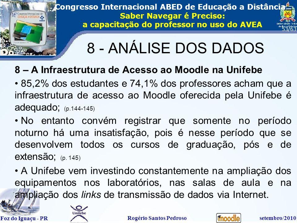 16º Congresso Internacional ABED em Educação a Distãncia Foz do Iguaçu - PR Rogério Santos Pedrososetembro/2010 Congresso Internacional ABED de Educação a Distância Saber Navegar é Preciso: a capacitação do professor no uso do AVEA 53/63 8 – A Infraestrutura de Acesso ao Moodle na Unifebe 85,2% dos estudantes e 74,1% dos professores acham que a infraestrutura de acesso ao Moodle oferecida pela Unifebe é adequado; (p.144-145) No entanto convém registrar que somente no período noturno há uma insatisfação, pois é nesse período que se desenvolvem todos os cursos de graduação, pós e de extensão; (p.