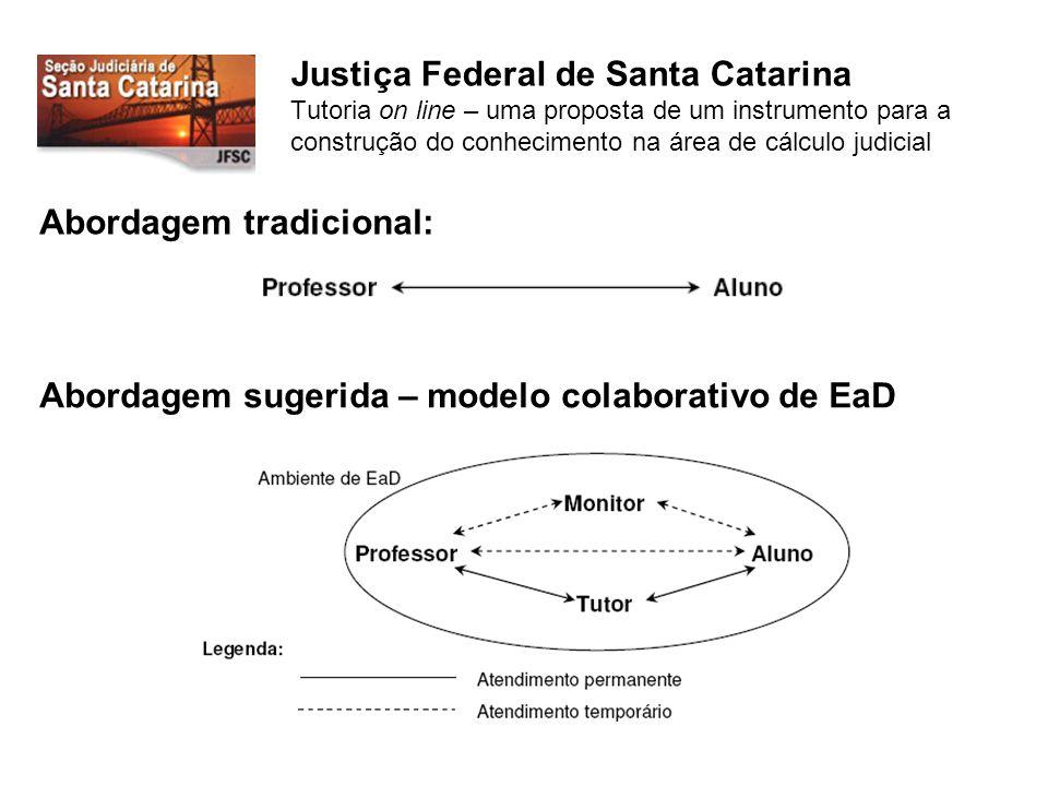 Justiça Federal de Santa Catarina Tutoria on line – uma proposta de um instrumento para a construção do conhecimento na área de cálculo judicial Abordagem tradicional: Abordagem sugerida – modelo colaborativo de EaD