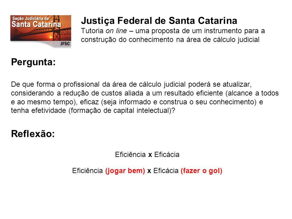 Justiça Federal de Santa Catarina Tutoria on line – uma proposta de um instrumento para a construção do conhecimento na área de cálculo judicial Algo está acontecendo...