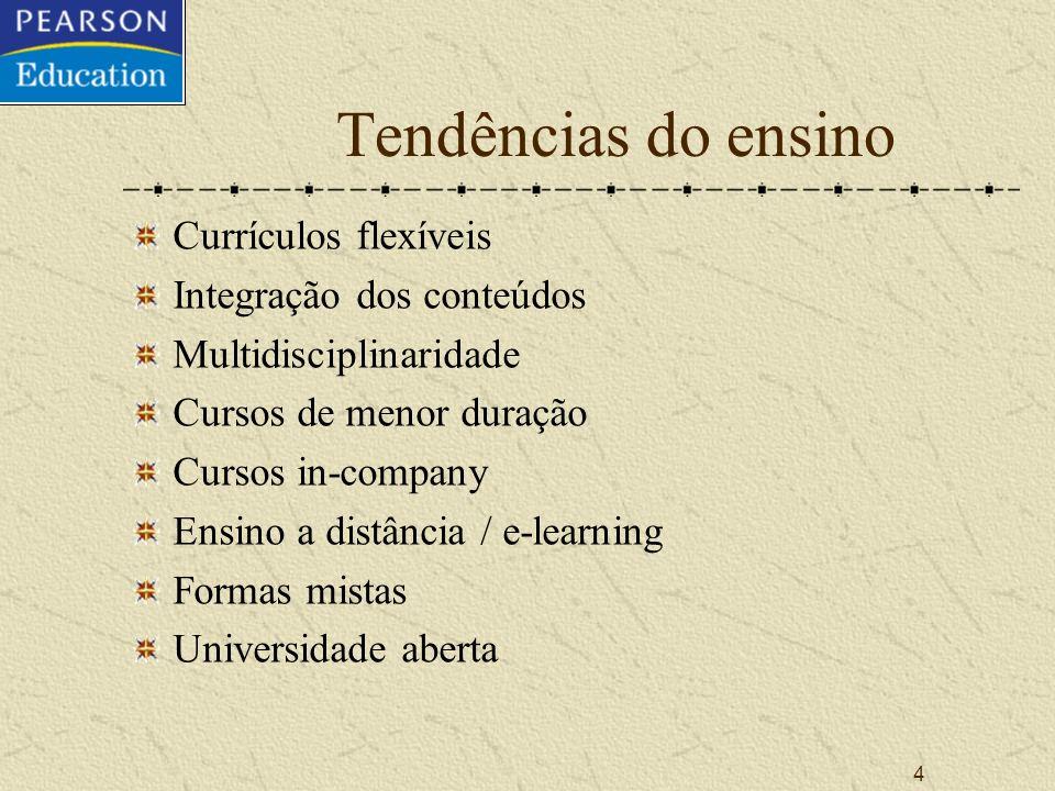 4 Tendências do ensino Currículos flexíveis Integração dos conteúdos Multidisciplinaridade Cursos de menor duração Cursos in-company Ensino a distância / e-learning Formas mistas Universidade aberta