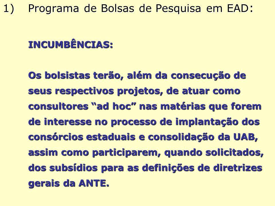 1)Programa de Bolsas de Pesquisa em EAD : INCUMBÊNCIAS: Os bolsistas terão, além da consecução de seus respectivos projetos, de atuar como consultores ad hoc nas matérias que forem de interesse no processo de implantação dos consórcios estaduais e consolidação da UAB, assim como participarem, quando solicitados, dos subsídios para as definições de diretrizes gerais da ANTE.