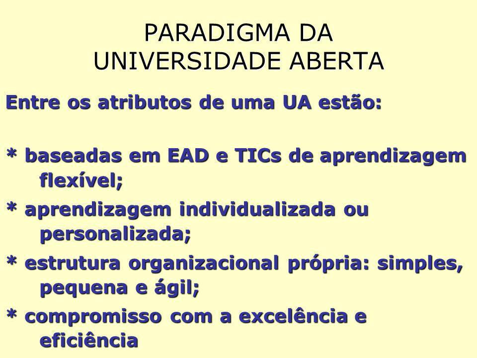 PARADIGMA DA UNIVERSIDADE ABERTA Entre os atributos de uma UA estão: * baseadas em EAD e TICs de aprendizagem flexível; * aprendizagem individualizada ou personalizada; * estrutura organizacional própria: simples, pequena e ágil; * compromisso com a excelência e eficiência