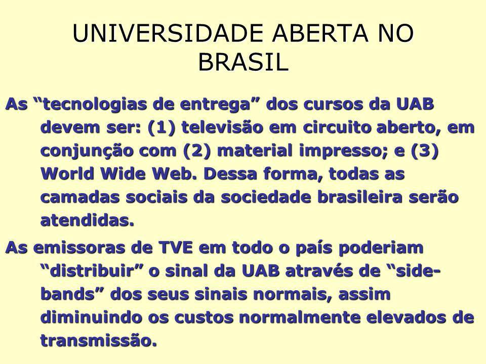 UNIVERSIDADE ABERTA NO BRASIL As tecnologias de entrega dos cursos da UAB devem ser: (1) televisão em circuito aberto, em conjunção com (2) material impresso; e (3) World Wide Web.