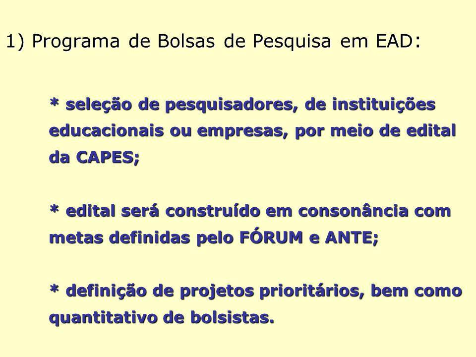1) Programa de Bolsas de Pesquisa em EAD : * seleção de pesquisadores, de instituições educacionais ou empresas, por meio de edital da CAPES; * edital será construído em consonância com metas definidas pelo FÓRUM e ANTE; * definição de projetos prioritários, bem como quantitativo de bolsistas.