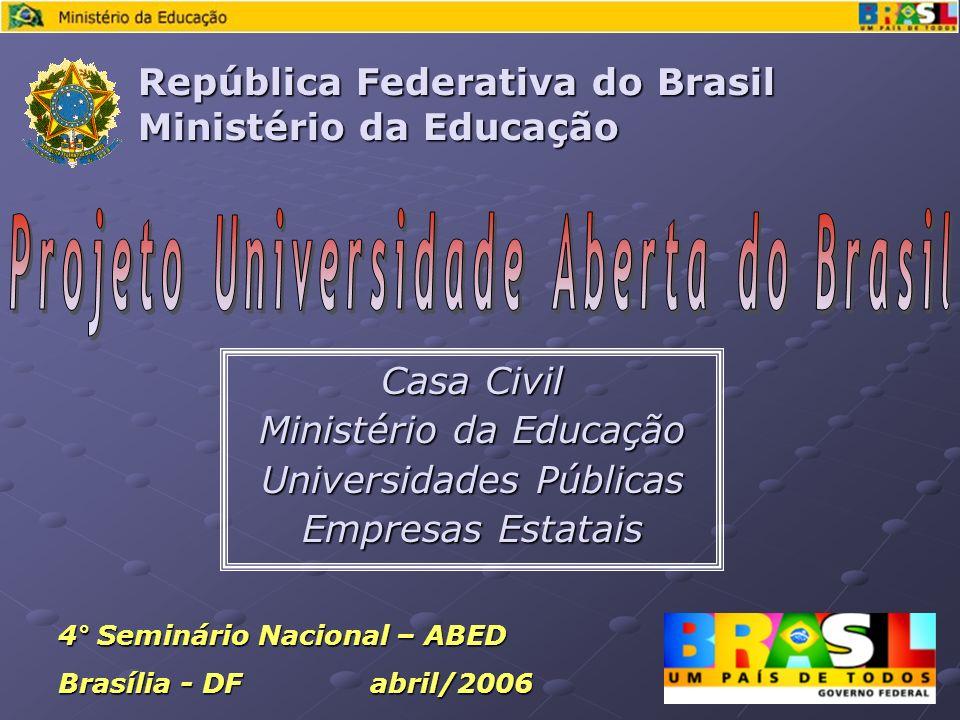 Casa Civil Ministério da Educação Universidades Públicas Empresas Estatais República Federativa do Brasil Ministério da Educação 4° Seminário Nacional – ABED Brasília - DF abril/2006
