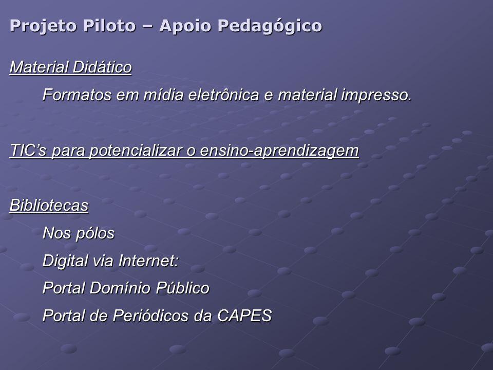 Projeto Piloto – Apoio Pedagógico Material Didático Formatos em mídia eletrônica e material impresso.