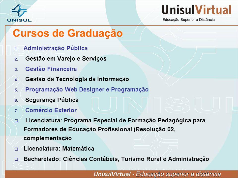 Cursos de Graduação Administração Pública Gestão em Varejo e Serviços Gestão Financeira Gestão da Tecnologia da Informação Programação Web Designer e