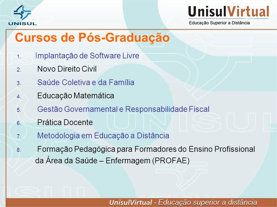 Cursos de Pós-Graduação Implantação de Software Livre Novo Direito Civil Saúde Coletiva e da Família Educação Matemática Gestão Governamental e Respon