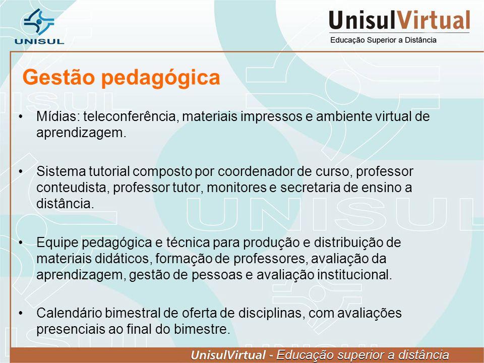 Gestão pedagógica Mídias: teleconferência, materiais impressos e ambiente virtual de aprendizagem. Sistema tutorial composto por coordenador de curso,