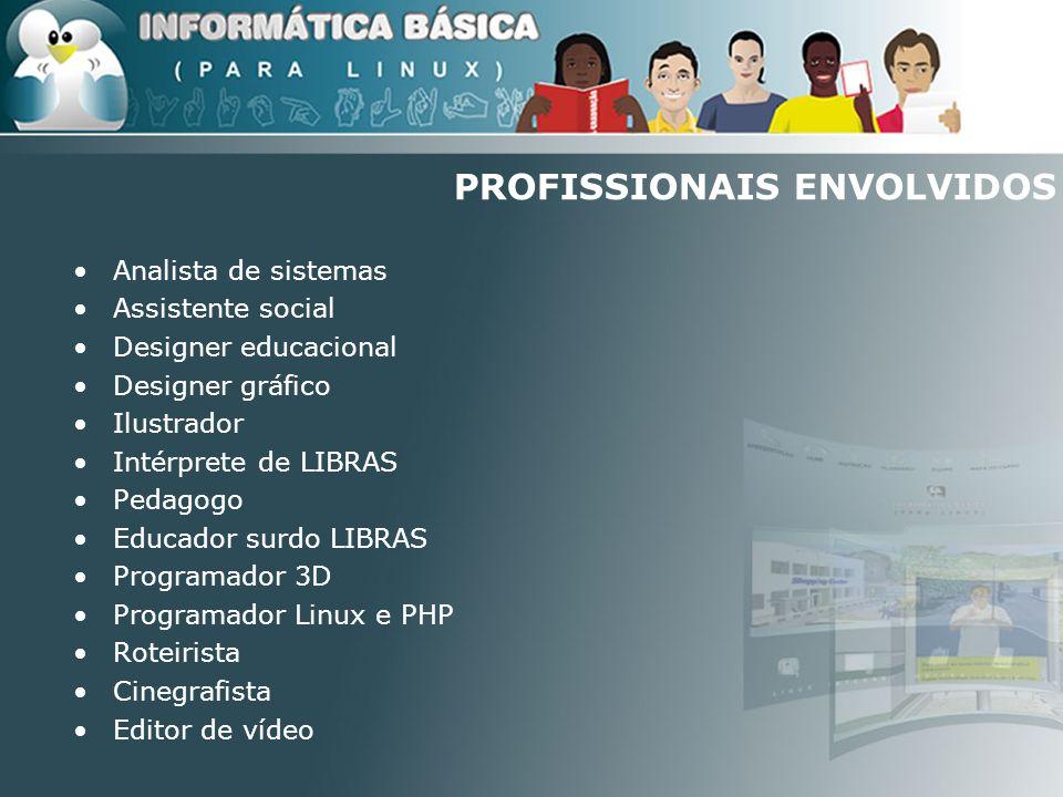 PROFISSIONAIS ENVOLVIDOS Analista de sistemas Assistente social Designer educacional Designer gráfico Ilustrador Intérprete de LIBRAS Pedagogo Educado