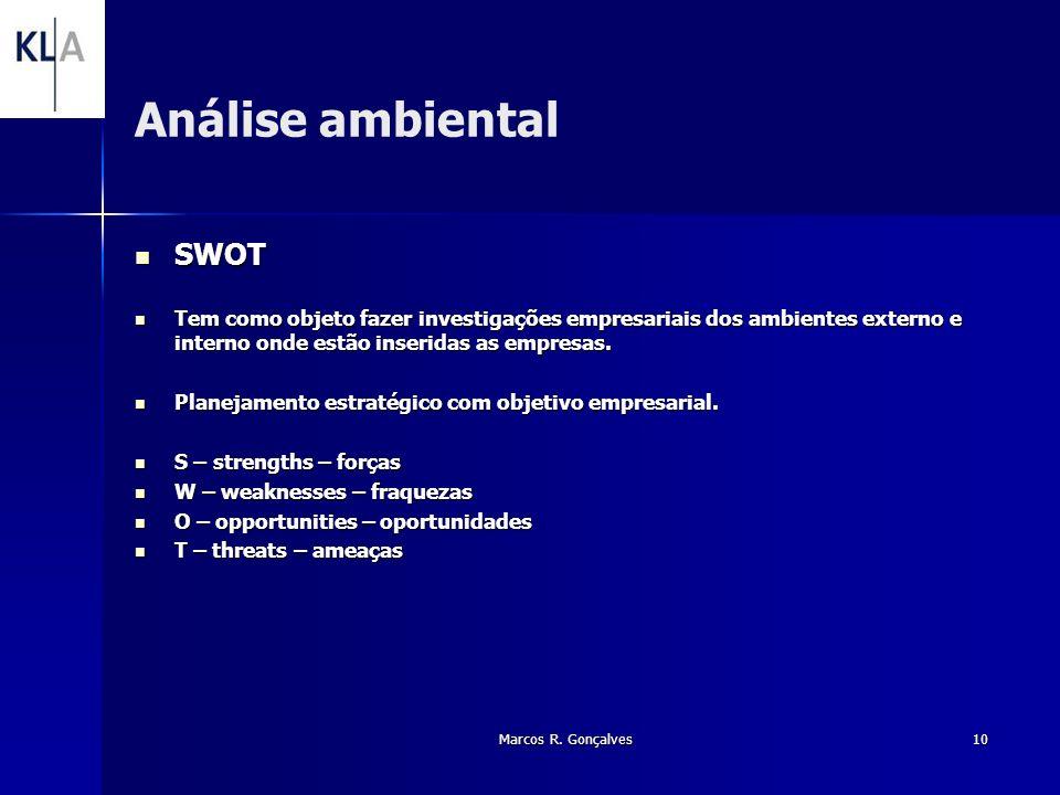 Marcos R. Gonçalves10 Análise ambiental SWOT SWOT Tem como objeto fazer investigações empresariais dos ambientes externo e interno onde estão inserida