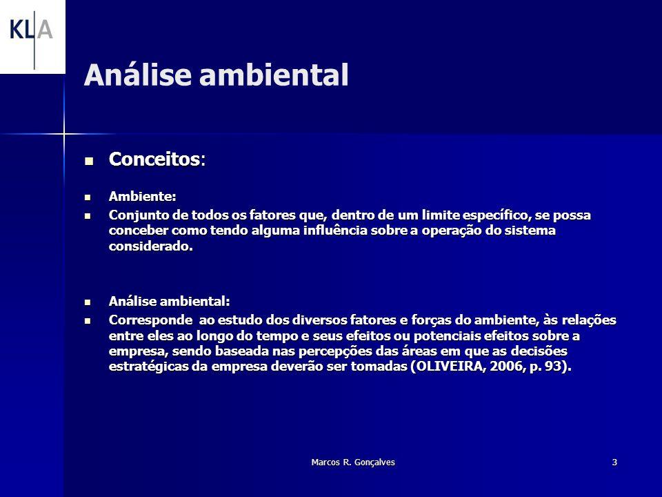 Marcos R. Gonçalves3 Análise ambiental Conceitos: Conceitos: Ambiente: Ambiente: Conjunto de todos os fatores que, dentro de um limite específico, se