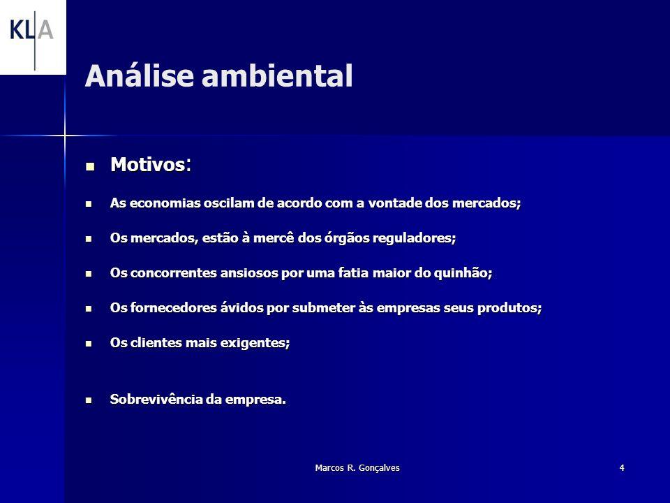 Marcos R. Gonçalves4 Análise ambiental Motivos : Motivos : As economias oscilam de acordo com a vontade dos mercados; As economias oscilam de acordo c
