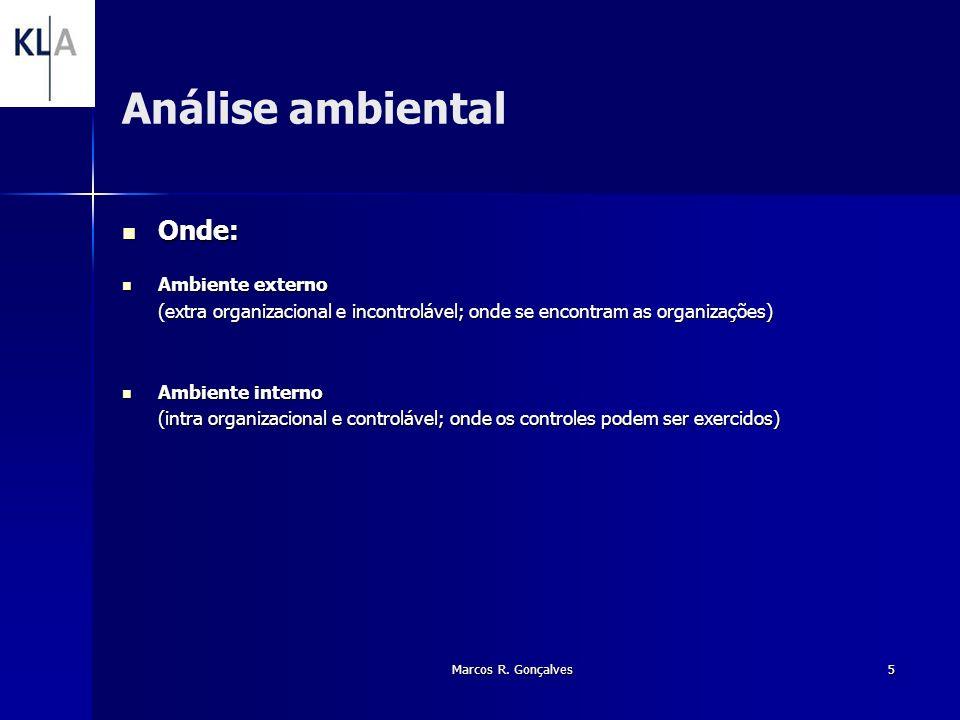 Marcos R. Gonçalves5 Análise ambiental Onde: Onde: Ambiente externo Ambiente externo (extra organizacional e incontrolável; onde se encontram as organ