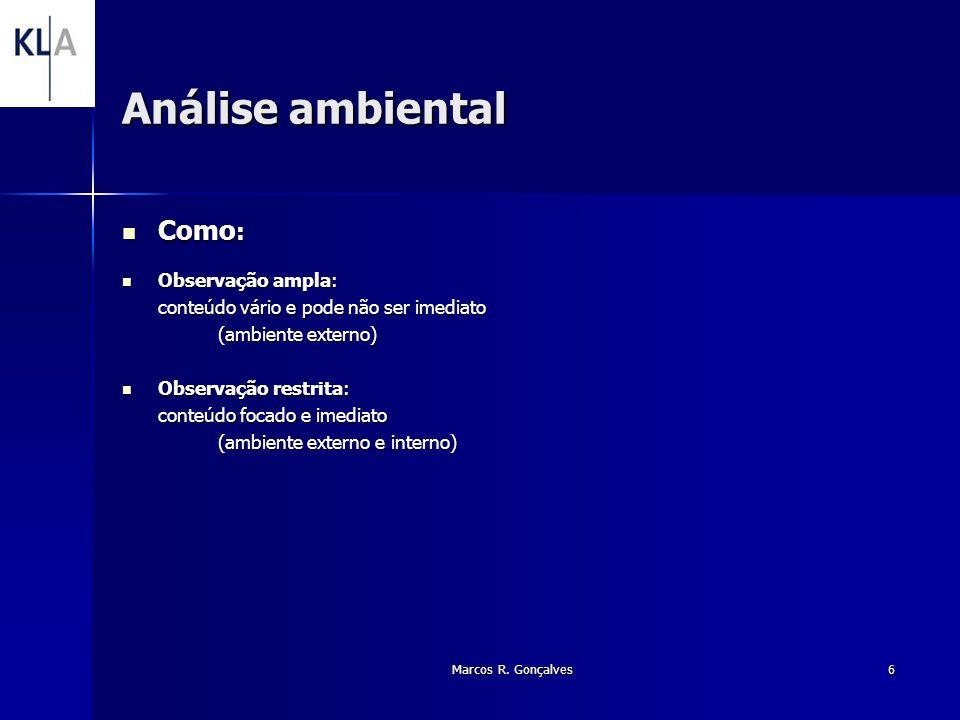 Marcos R. Gonçalves6 Análise ambiental Como : Como : Observação ampla: Observação ampla: conteúdo vário e pode não ser imediato (ambiente externo) Obs