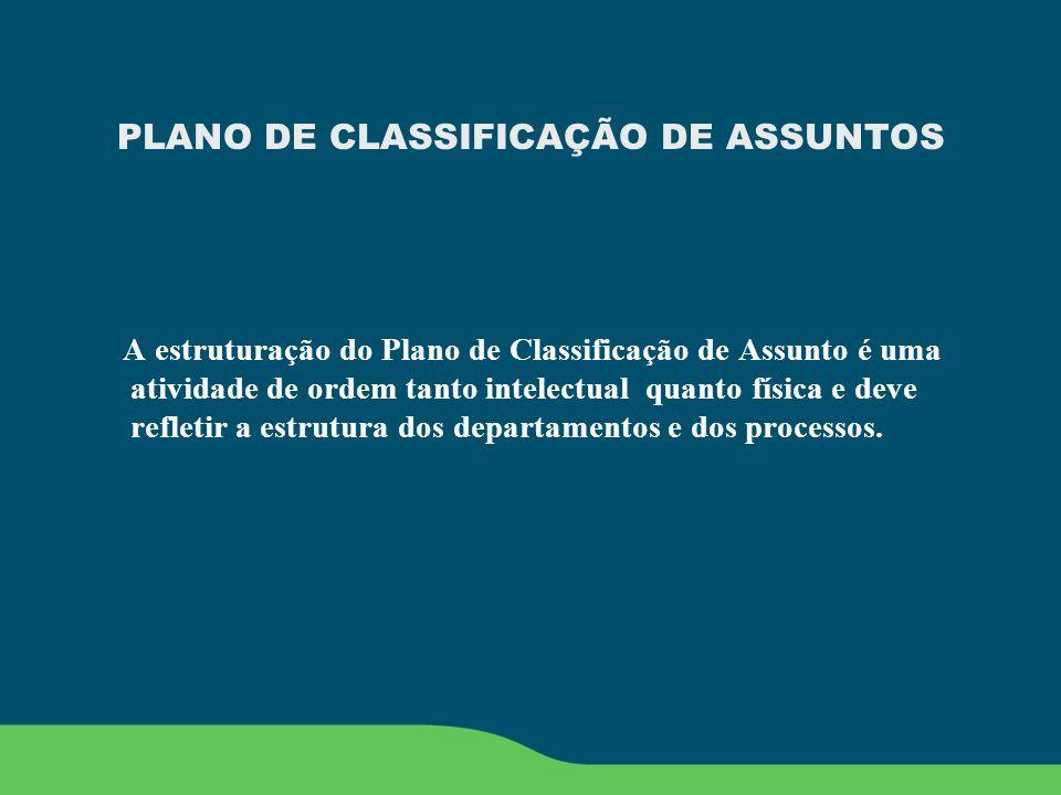 PLANO DE CLASSIFICAÇÃO DE ASSUNTOS A estruturação do Plano de Classificação de Assunto é uma atividade de ordem tanto intelectual quanto física e deve