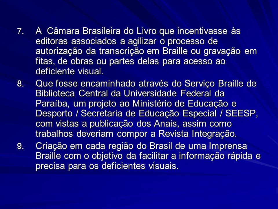 7. A Câmara Brasileira do Livro que incentivasse às editoras associados a agilizar o processo de autorização da transcrição em Braille ou gravação em