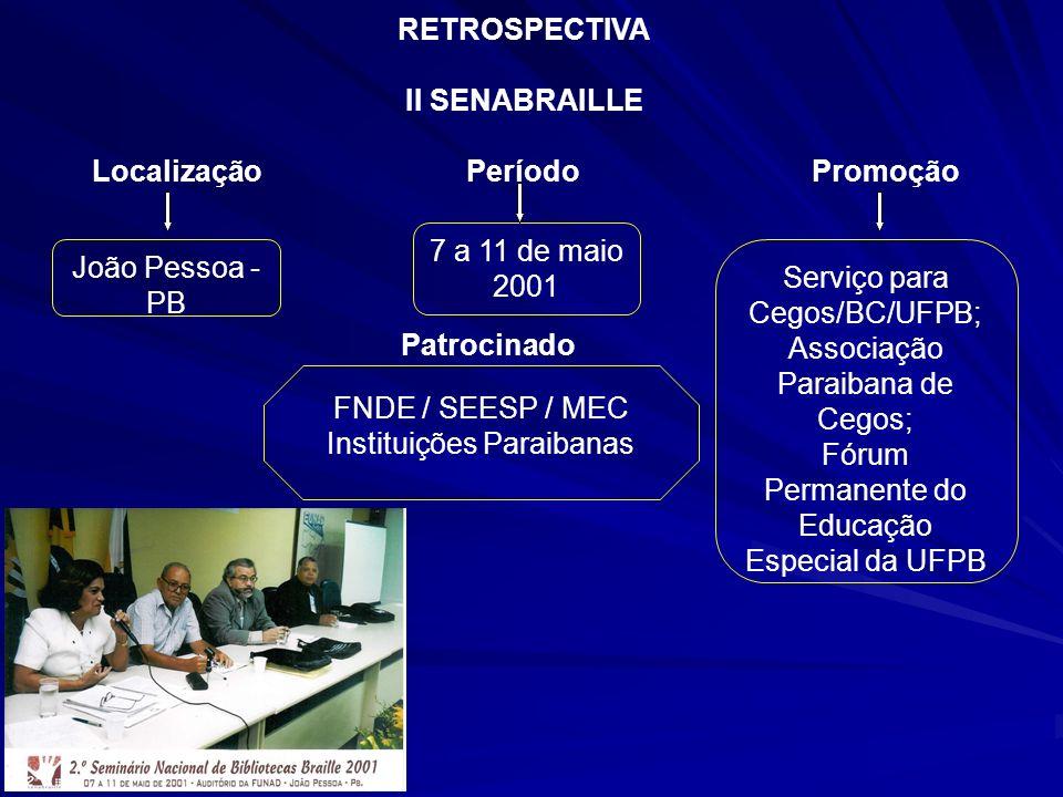 João Pessoa - PB 7 a 11 de maio 2001 Serviço para Cegos/BC/UFPB; Associação Paraibana de Cegos; Fórum Permanente do Educação Especial da UFPB FNDE / S
