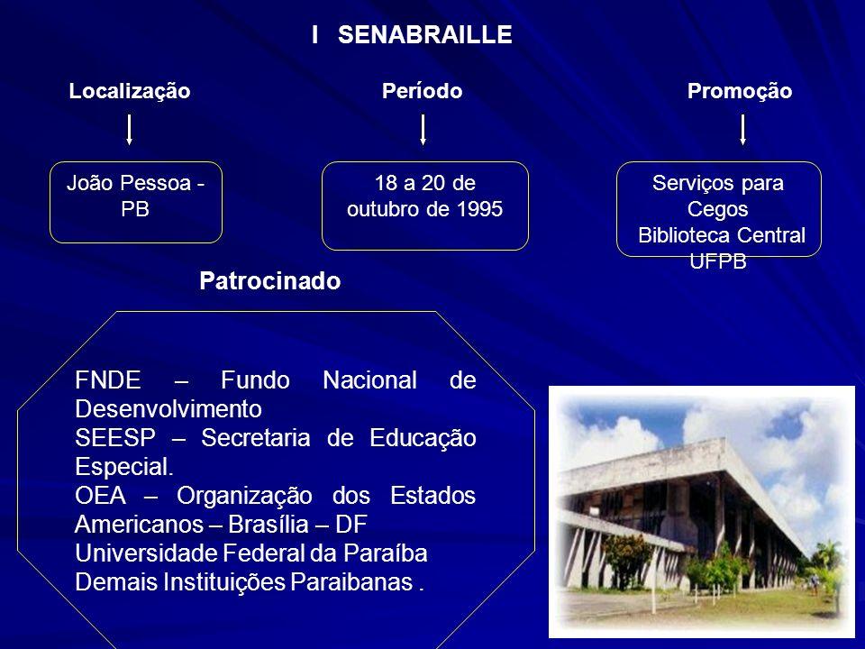 João Pessoa - PB 18 a 20 de outubro de 1995 Serviços para Cegos Biblioteca Central UFPB FNDE – Fundo Nacional de Desenvolvimento SEESP – Secretaria de