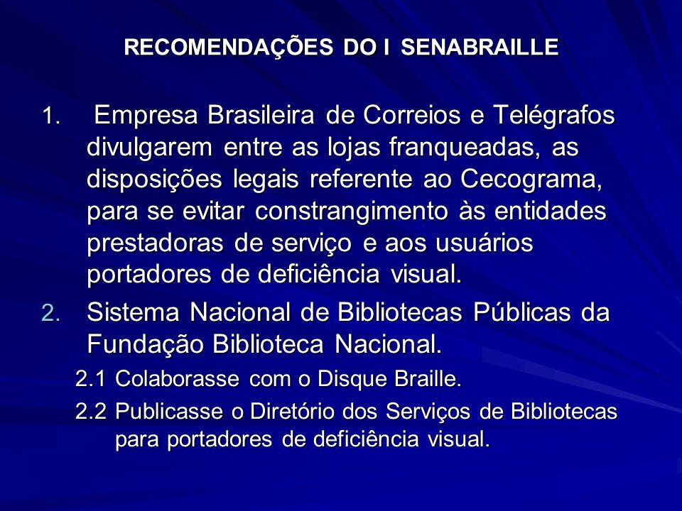 RECOMENDAÇÕES DO I SENABRAILLE 1. Empresa Brasileira de Correios e Telégrafos divulgarem entre as lojas franqueadas, as disposições legais referente a