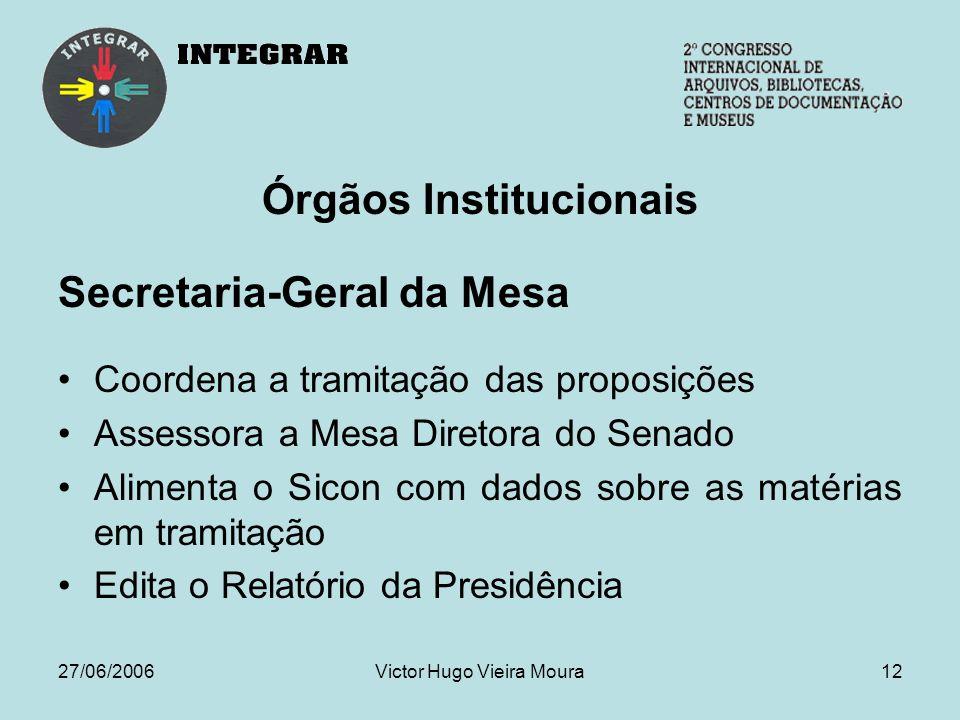 27/06/2006Victor Hugo Vieira Moura12 Órgãos Institucionais Secretaria-Geral da Mesa Coordena a tramitação das proposições Assessora a Mesa Diretora do Senado Alimenta o Sicon com dados sobre as matérias em tramitação Edita o Relatório da Presidência