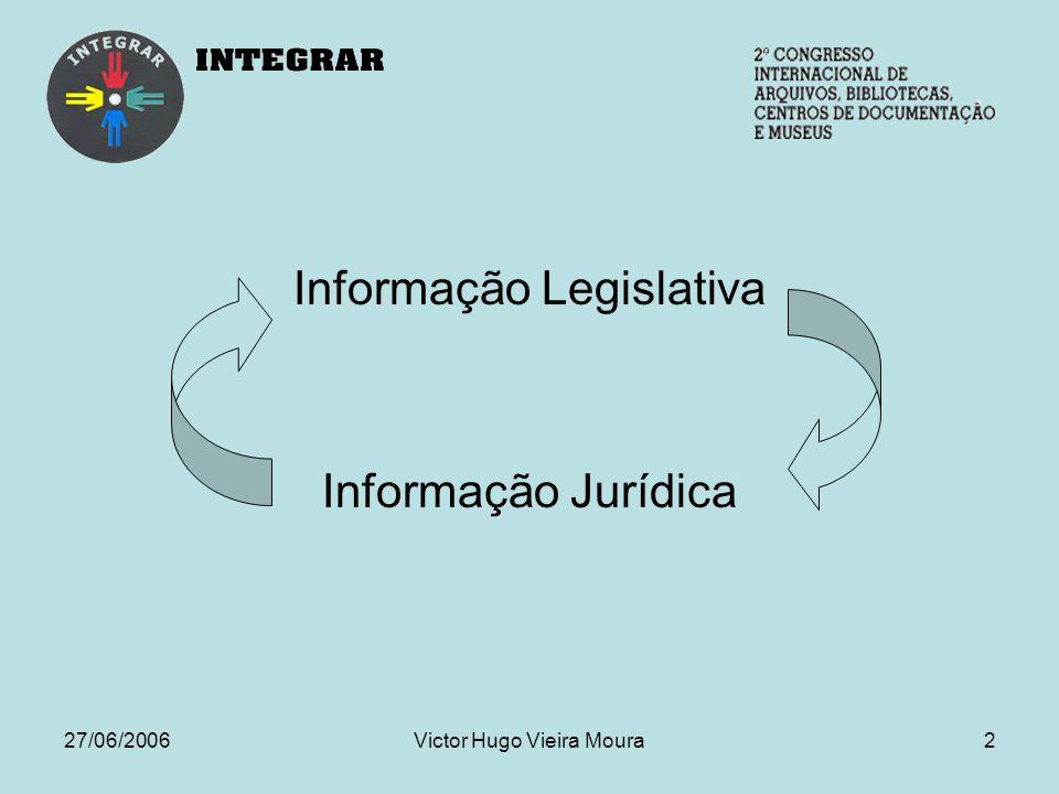 27/06/2006Victor Hugo Vieira Moura2 Informação Legislativa Informação Jurídica