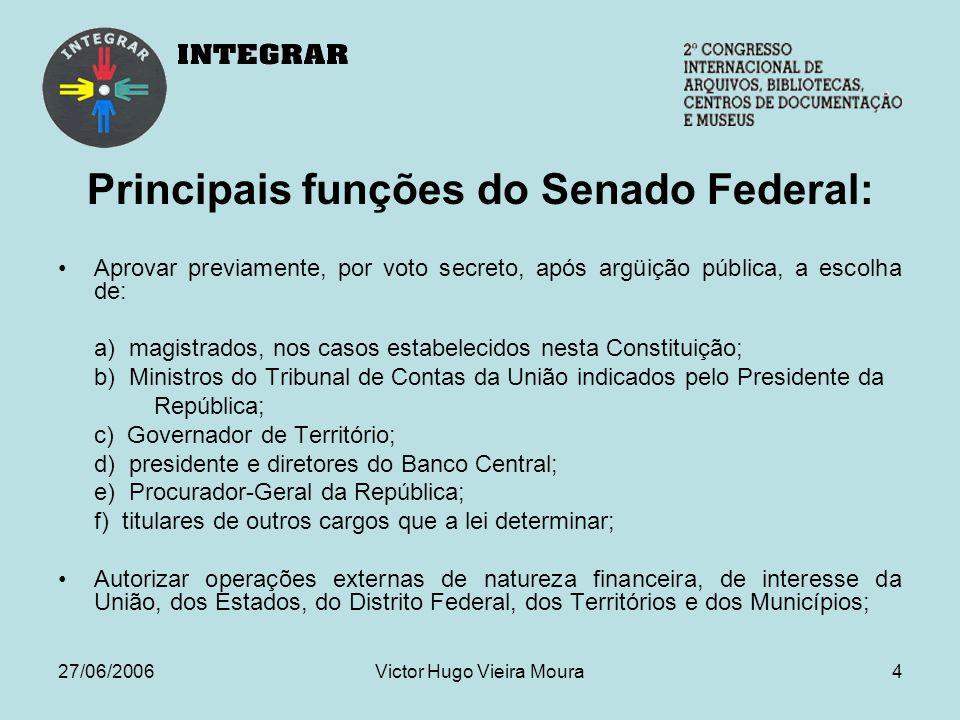 27/06/2006Victor Hugo Vieira Moura5 Produção Legislativa do Senado em 2005 421 Projetos de Lei 91 Projetos de Resolução Das 176 leis sancionadas ou promulgadas em 2005, apenas 11 foram de autoria de senadores.
