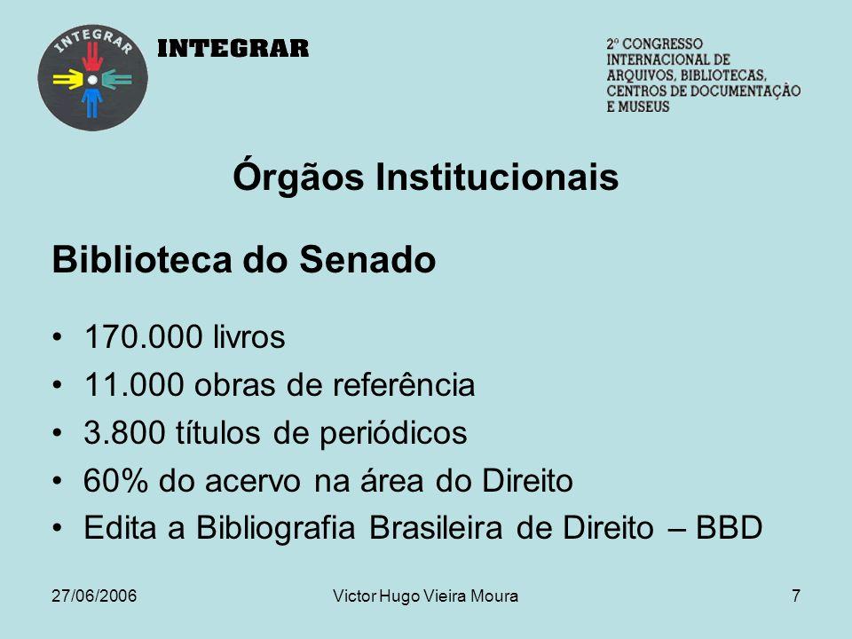 27/06/2006Victor Hugo Vieira Moura8 Órgãos Institucionais Secretaria de Arquivo Documentos produzidos pelo Senado desde 1826, como relatórios das CPIs, pronunciamentos, Diários do Senado, Anais do Senado e manuscritos do Império.