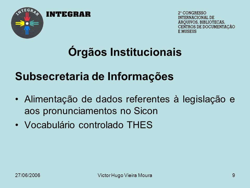 27/06/2006Victor Hugo Vieira Moura10 Órgãos Institucionais Consultoria Legislativa Elaboração de estudos técnicos Minutas de projetos de lei e pronunciamentos Edita os Textos para Discussão