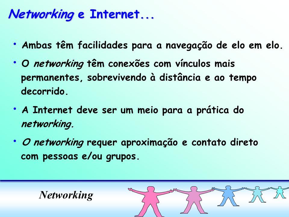 Networking Ambas têm facilidades para a navegação de elo em elo. O networking têm conexões com vínculos mais permanentes, sobrevivendo à distância e a